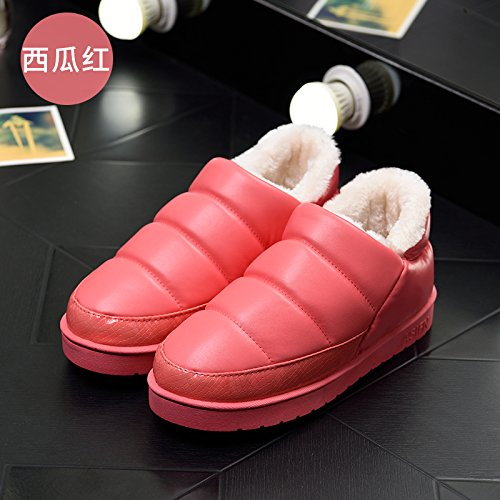 DogHaccd pantofole,Inverno paio di pantofole di cotone confezione con gli uomini e le donne calde scarpe indoor cotone impermeabile indossa spesso, antiscivolo scarpe di cotone Il rosso3