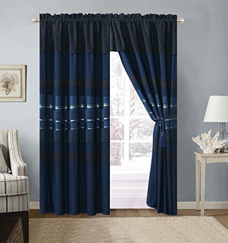 Grand Leinen 7Stück Lila/Schwarz Silber Gestreift Chenille Tröster Set Betten Modern Curtains Navy (Grand Bettwäsche Tröster-sets)