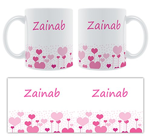 Zainab – Motif cœurs – Femelle Nom personnalisable Mug en céramique