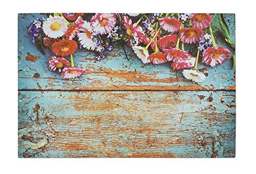 Eco Gummi Matten - Fussmatte Antirutschmatte Bodenmatte Schmutzfangmatte Fußmatten - verschiedene Design Motive - modern - innen & außen - Größe 40 x 60 cm (Blumen - Holzoptik)