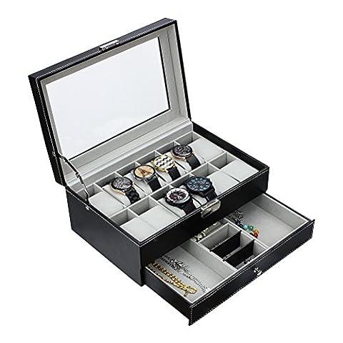 HBF Présentoir Boîte Coffret à Montre Boîte à Bijoux Coffret de Rangement Pour Montre et Bijoux