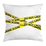 VVIANS Police Scene Throw Pillow Cushion Cover, Crossed Tapes Restriction Barrier Trespass Police Investigation Case, Decorative Square Accent Pillow Case, 18 X 18 Inches, Yellow Black White