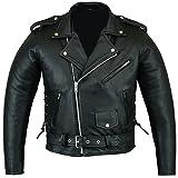 Bikers Gear Australian Stone Washed Rindsleder Leder Classic Brando Motorrad Jacke, Schwarz, Größe 3X L