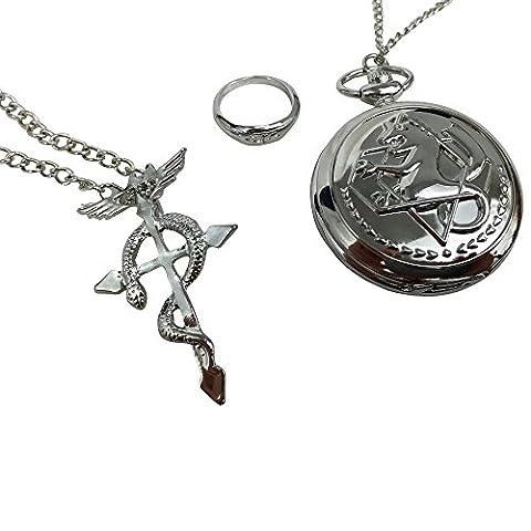 Katara - Set de 3 pcs Fullmetal Alchemist Montre de poche Collier avec pendentif Flamel e Anneau, Set inspiré de Fullmetal Alchemist Edward Elric accessoire costume cosplay