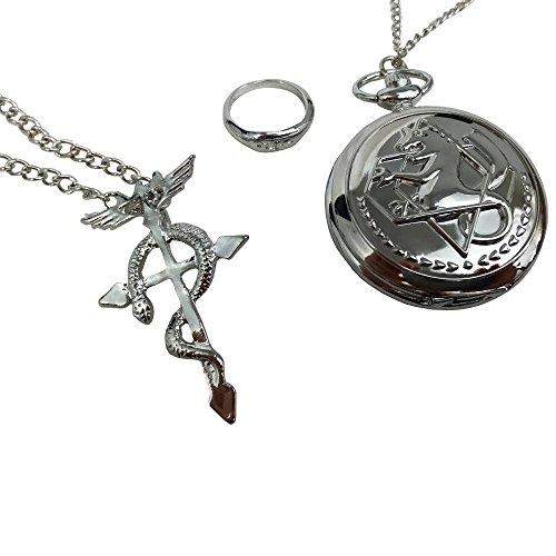 3 tlg. Fullmetal Alchemist Taschenuhr, Halskette und Ring für Cosplay oder als Geschenk-Set (Express Damen Schmuck)