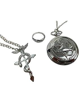 Katara 1736 Set 3 pezzi Fullmetal Alchemist Orologio Collana con Flamel pendente Anello Accessori Costume Cosplay