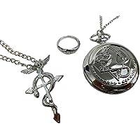 Katara 1736 - Fullmetal Alchemist Set 3 Pcs - Reloj de Bolsillo, Colgante, Anillo - Anime Accesorio de Disfraz Cosplay