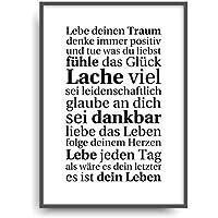 Kunstdruck LEBE DEINEN TRAUM Poster Bild ungerahmt DIN A4
