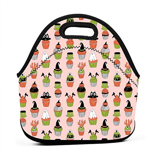 Portable Bento Lunch Bag,Halloween Cupcakes Fabric Cupcakes, Food, Sweets, Cute, Halloween, Ghost, Witch, Frankenstein - Peach for Kids Adult Thermal Insulated Tote Bags (Cute Food For Kids Halloween)