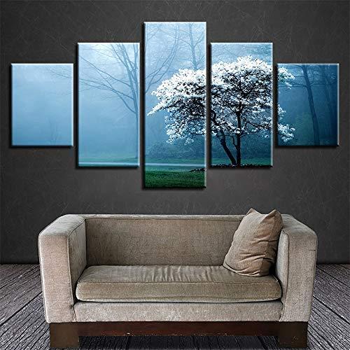 �Inkjet Home küche wandbild Nebel Wald Druck fünf Kampf frische Kunst gemälde 5 malerei Kern 10x15cmx2 10x20cmx2 10x25cmx1 ()