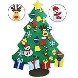 Amajoy 3.6 FT (110cm) Albero di Natale dell'albero di Natale della feltolta di DIY con 29 Ornamenti Staccabili Regali di Natale di Nuovo Anno per la Decorazione della Parete del Portello dei Bambini
