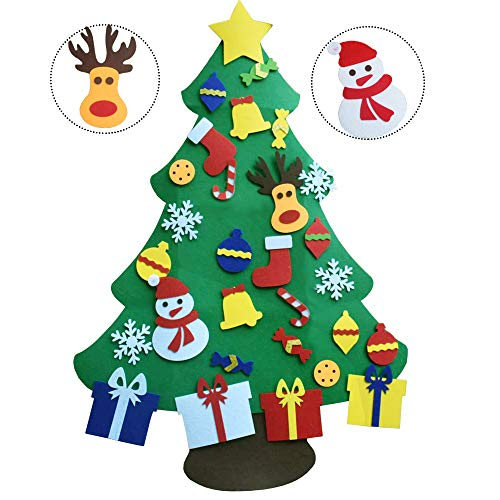 XYJIE 3.6ft DIY Feltro Albero di Natale Set con Ornamenti per i Bambini Regali di Natale con 29 Pezzi Capodanno Ornamenti Staccabili Decorazione della Parete