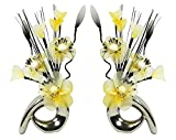 Matching Pair of Silver Vases with Yellow and Cream Artificial Flowers, Ornaments for Living Room, Window Sill, Home Accessories, 32cm