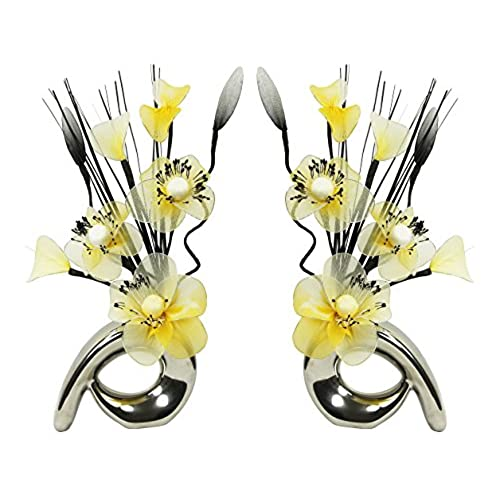 yellow accessories for living room. Flourish Matching Pair of Silver Vases with Yellow and Cream Artificial  Flowers Ornaments for Living Room Window Sill Home Accessories 32cm Amazon co uk
