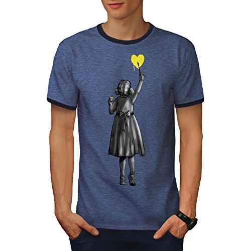 Mädchen Farbe Herz Mode Herren XL Ringer T-shirt | Wellcoda (Mädchen Herz Ringer)