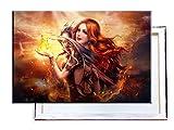 Drachen Feuer Fantasy Girl - 120x80 cm - Bilder & Kunstdrucke fertig auf Leinwand aufgespannt und in erstklassiger Druckqualität