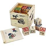 Pindia Non-Toxic 27Pcs Wooden Alphabet Building Blocks With Storage Box For Kids