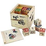 #2: Pindia Non-Toxic 27Pcs Wooden Alphabet Building Blocks With Storage Box For Kids