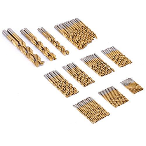 Preisvergleich Produktbild 99 Stück Titanium beschichtet High-Speed-Stahl Bohrer Elektrowerkzeuge Werkzeug-Sets Tool Kit HSS-Bohrersets 1.5mm-10mm &Super Angebot