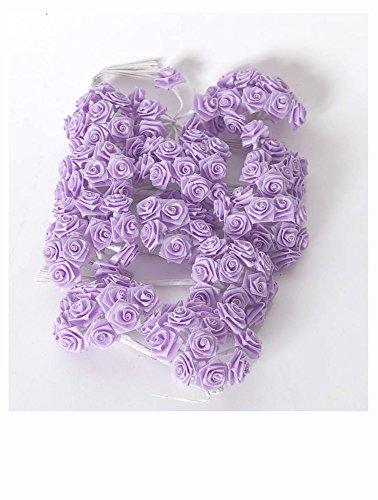 Confezione di 144 rose roselline orlate color viola lilla utilizzabili per chiudere tulle porta confetti, bomboniere o