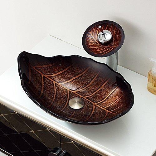 AllureFeng Arche moderne au-dessus du bassin de comptoir trempé verre wash bassin/Brown (550 * 125 * 12 mm)
