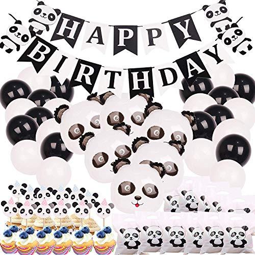 Panda Party Decorations Supplies Happy Birthday Banner Mylar-Luftballons Panda Tortenaufsatz und Geschenktüten für Panda Bär Babyparty Dekoration (Birthday-casino-banner Happy)