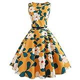 Lenfesh Audrey Hepburn vintage Robe de soirée Casual sans manches à carreaux avec ceinture (M, Jaune)