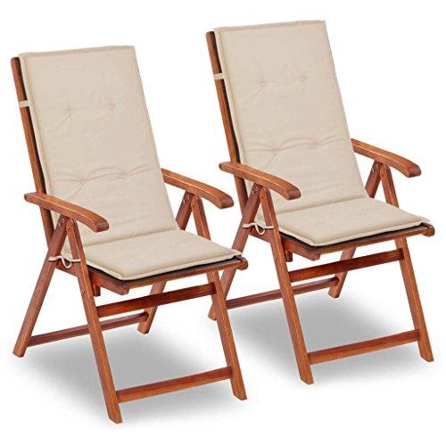 vidaXL 2x Gartenstuhl Auflage 120x50x3 cm Creme Hochlehner Sitzkissen Kissen