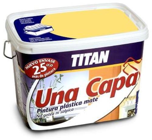 Titan M125515 - Pintura plastica monocapa mate de 5 l amarillo