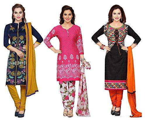 Shree Rajlaxmi Sarees Women's Printed Poly Cotton and Crepe Regular Wear Unstitched Dress Material (3 Dress Material Combo) (rl-loly-jugi-koti-3)