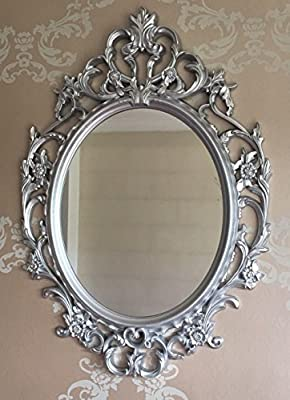 DeenZ ORNATE ANTIQUE SILVER VANTAGE STYLE OVAL WALL MIRROR DRESSING BATHROOM LARGE WALL MIRROR - inexpensive UK light store.