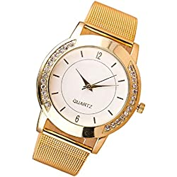 HARRYSTORE Women's Watches Crystal Golden Stainless Steel Analog Quartz Wrist Watch Bracelet
