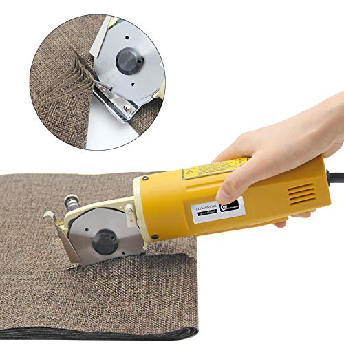 ragbarer Elektrischer Stoffschneider Runde Elektrische Schere Mehrzweck-Wildlederschneider Ideal für Textiles Lederpapier mit einem Klingendurchmesser von 70 mm, 220 V ()
