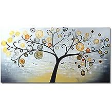 raybre art cm cuadros en lienzo abstractos grandes pintada a mano al leo pintura rbol de la vida clido colores panorama para arte pared