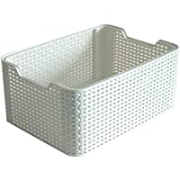 Curver Style Small Rectangular Storage Basket, Vintage White, 6 Litre