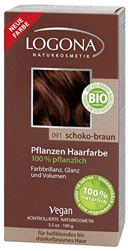 LOGONA Naturkosmetik Coloration Pflanzenhaarfarbe, Pulver - 091 Schoko-Braun - Braun, Natürliche & pflegende Haarfärbung -