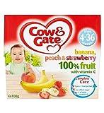 Cow & GateBanana, Pesca E Fragola 100% Di Frutta Con Vitamina C Da 4-36 Mesi 4 X 100G (Confezione da 2)