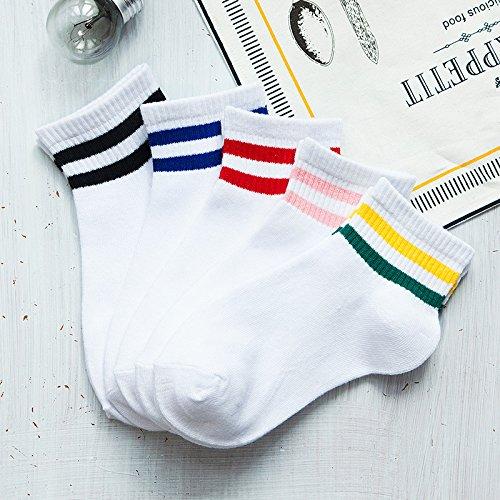 ZHANGJIANJUN 10 Paar Niedliche Socken 3D-Streifen Weiblichen Socken Frauen Low Cut Ankle Socks Casual Strumpfwaren Kurze Socke Kunst Frau