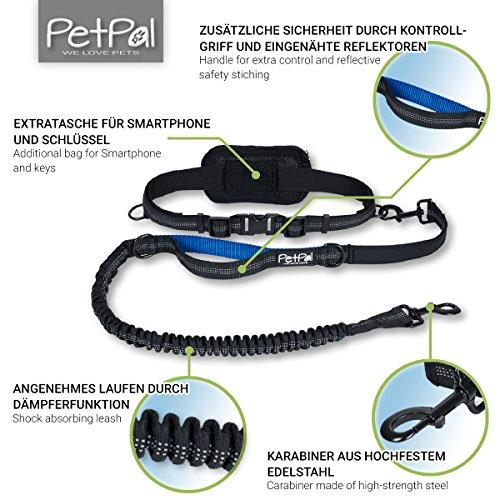 Jogging-Leine – Premium Hundeleine +2 Gratis Abstracts | Laufleine mit 100%-Zufriedenheitsgarantie | Inklusive Zipper-Tasche | Gepolsteter Verstellbarer Neopren-Bauchgurt | Aus Robustem Nylon für Kleine & Große Hunde bis 62 kg | Ideal zum Freihändigen Joggen, Wandern & Spazieren | Elastische Bungee-Leine | Reflektierende Nähte - 3