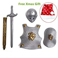 ZSL Retro Deluxe Knight Armour Dress Up Knight Role Play Set Include Sword Shield Helmet and Chest Plate Kids Halloween Costume Fancy Dress Up Outfits Fit for 3-8 Years