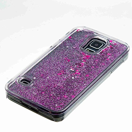 iPhone SE Custodia Glitter, toyym trasparente galleggiante brillantini glitter per iPhone 5S SE, 3d creative Funny Cute Moving Cuori Star Design Cover rigida protettiva per Apple Iphone SE/5S/5 Purple