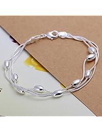 joyliveCY-Unique Fashion 925 ba?ado en plata cadena de joyer¨ªa mano pulsera de perlas de tres cadenas con Oval lisa