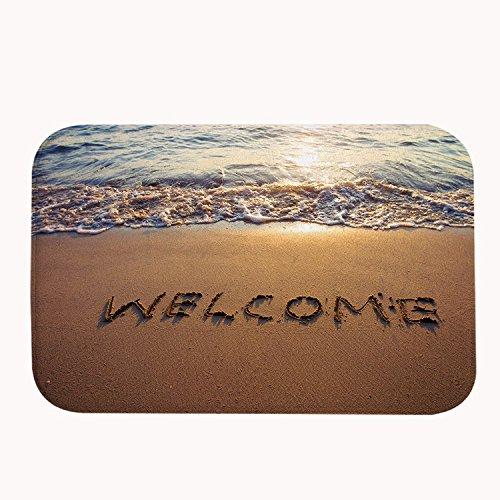 rioengnakg Welcome to La sabbia in pile corallo tappetino da bagno tappeto zerbino ingresso tappeto tappetini per esterno anteriore porte Entrata Carpet, 20