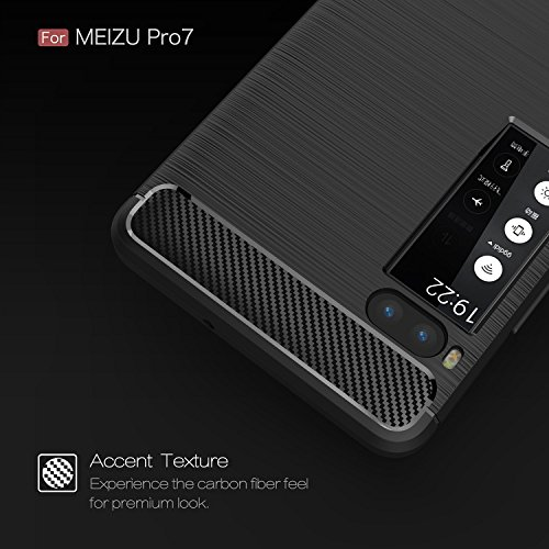 YHUISEN Meizu Pro7 Case, Ultra Light Carbon Fiber Rüstung ShockProof gebürstet Silikon Griff Fall für Meizu Pro7 / Pro 7 ( Color : Gray ) Black