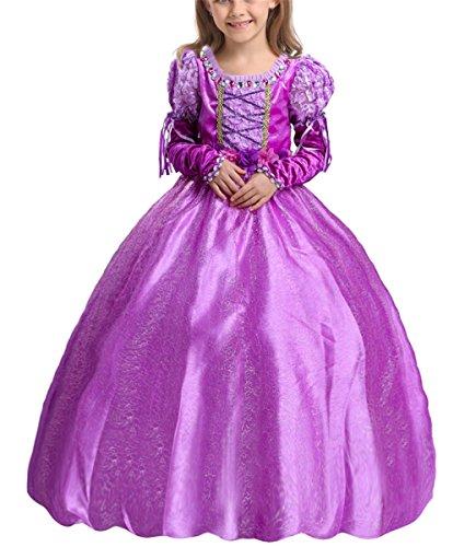 (LCXYYY Mädchen Prinzessin Rapunzel Sofia Schmetterling Tüll Kostüm Karneval Verkleidung Party Kleid Cosplay Hochzeit Blumenmädchenkleider Faschingskostüm Festkleid Weinachten Halloween Fest Lila)