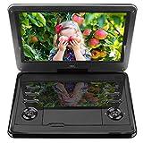 HKC D12HM: 12 pollici lettore DVD portatile, schermo girevole, scheda SD, porta USB con batteria, telecomando e caricabatteria per auto, nero