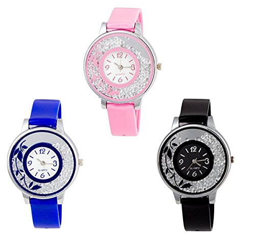 Krupa Enterprise Analogue Multicolor Dial Combo Of 3 Women's & Girl's Watch (Dimond6620)