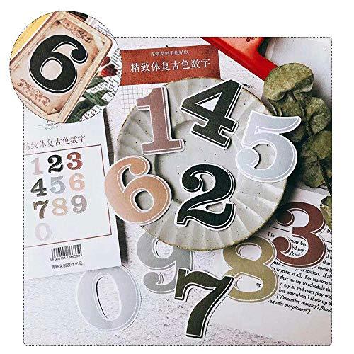 Paquete de Ephemera, Aolvo Vintage Note pegatinas incluyen alfabeto/número/mes/semana/fácil autoadhesivo para álbumes de recortes, cuaderno, diario, tarjetas, letras