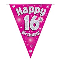Happy 16th Birthday Pink Holographic Foil Party Bunting 3.9m Long 11 Flags