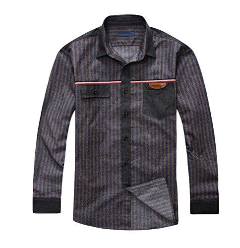 Größe Männer Revers Baumwolle Gestreiftes Hemd Locker Lässig Langarmhemd Shirt Gray